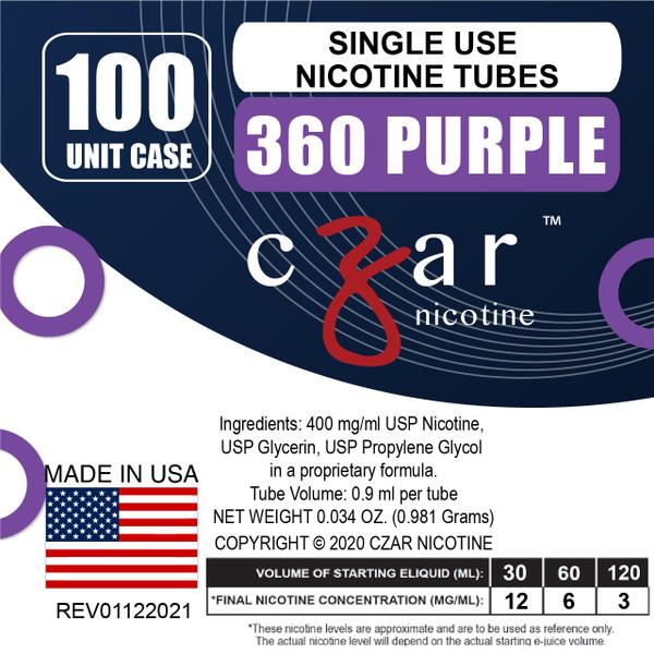 cZar 360 Purple - 100 Single Use Nicotine Tubes