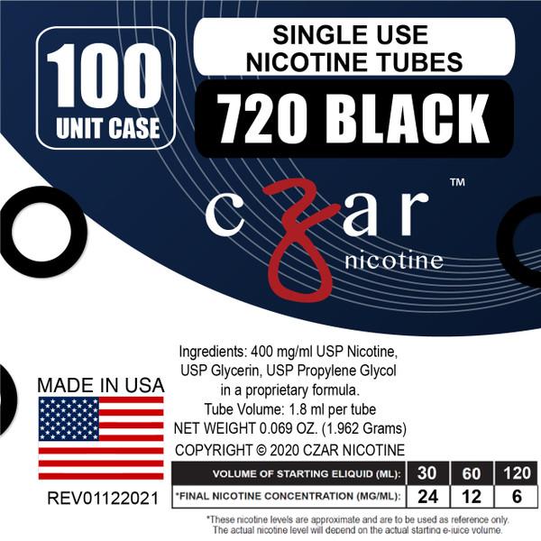 cZar 720 Black - 100 Single Use Nicotine Tubes