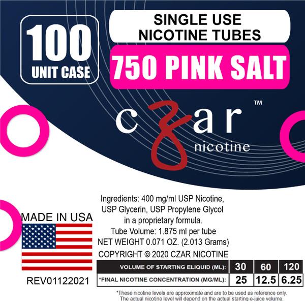 cZar 750 Pink Salt - 100 Single Use Nicotine Tubes