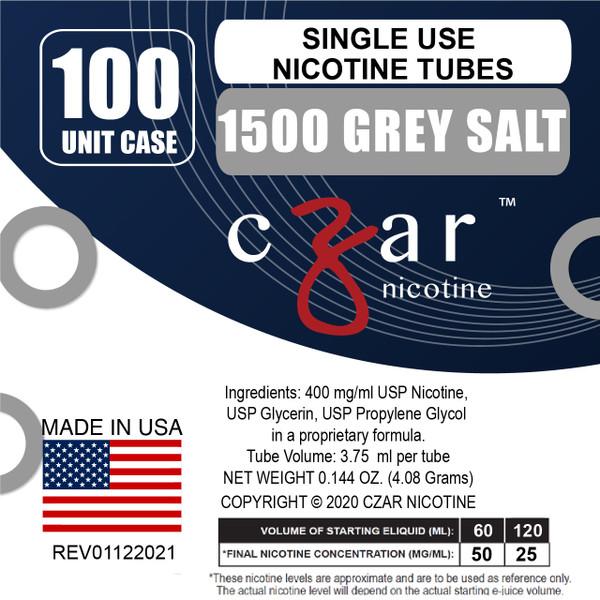 cZar 1500 Gray - 100 Single Use Nicotine Tubes