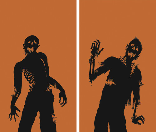 2 part Zombie silhouette Halloween Window Poster Decorations