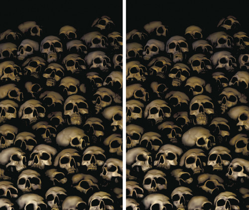 2 part Catacomb Skulls Halloween Window Poster Decorations