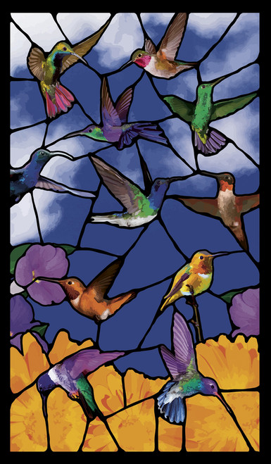 Hummingbirds Stained Glass Decorative Window Poster