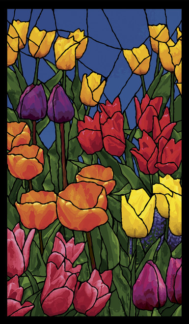 Spring Flowers Stained Glass Decorative Window Poster