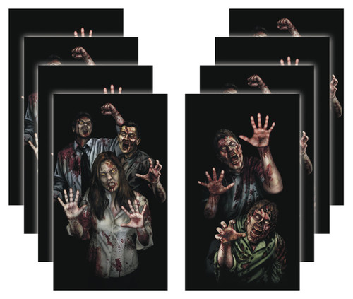 8 pack of House of Zombie Apocalypse Zombie Halloween Window Poster Decorations