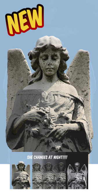 Angel to Demon Changing Halloween Window Poster Decoration shown as the daytime Angel