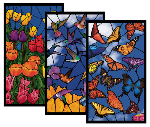 3 Pack of Hummingbirds, Spring Flowers and Butterflies Stained Glass Decorative Window Posters