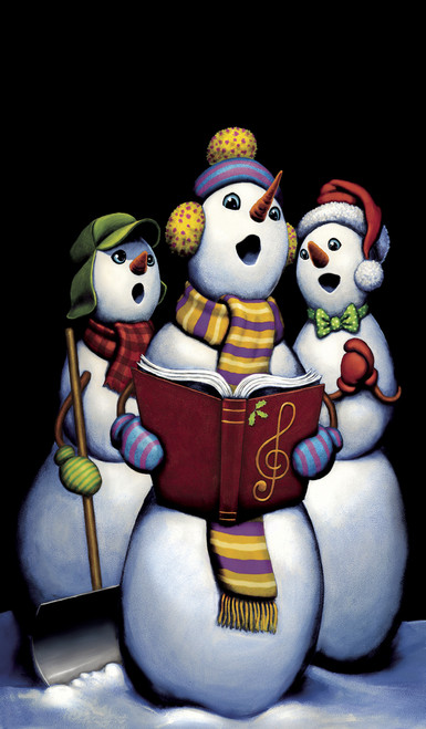 Singing Snowmen Carolers Decorative Christmas Window Poster