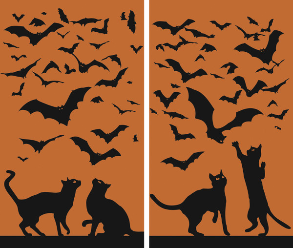 Cats and Bats 2 part Halloween Window Poster Decorations