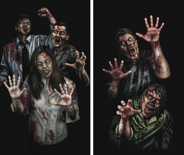 Zombie Asylum 2 part Halloween Window Poster Decorations