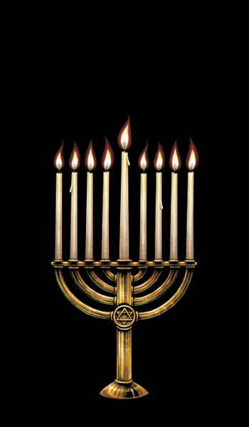 Menorah Decorative Window Poster for hanukkah with 9 candle flame removable stickers. Remove a sticker each night to reveal a new flame.