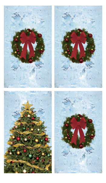 Christmas Posters.Tree And Wreaths With Frosted Background Decorations 34 5 X60 Backlit Poster 4 Posters