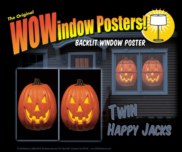 A house showing 2 Happy Jack O Lantern WOWindow Poster decorations