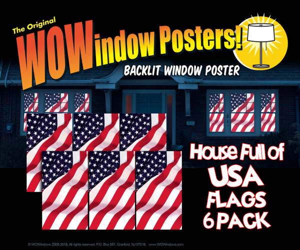 6 Old Glory USA American Flag Decorative Window Poster as seen in a house at night illuminated with interior lights.