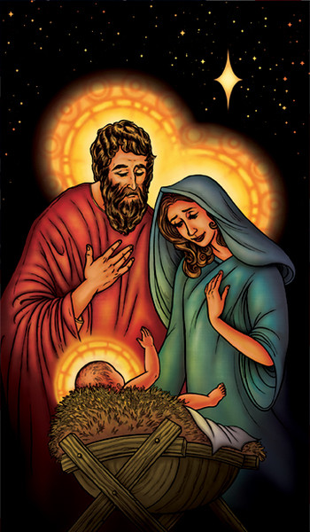 """Mary, Joseph, and Jesus  34.5""""x60"""" Backlit Poster"""
