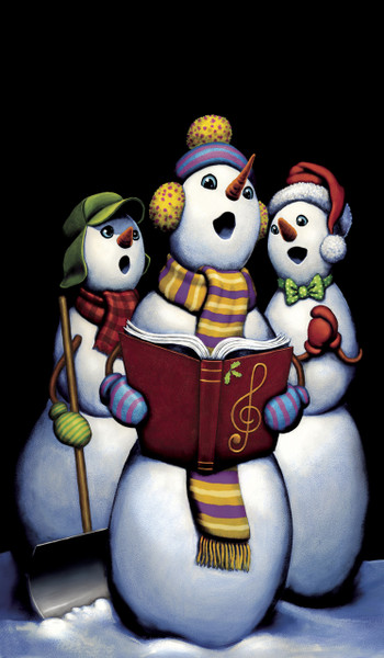 Singing Snowmen Carolers Decorative Christmas Window Poster
