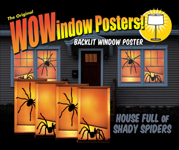 House showing 4 Shady Spider posters shown in four windows