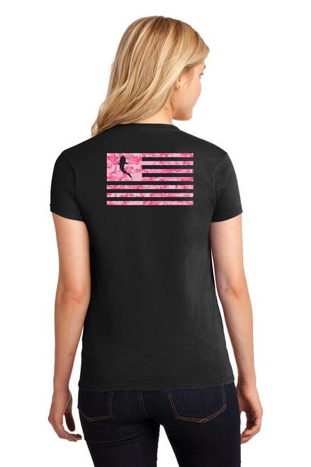 Ladies KATFISH Camo Flag Tee Black