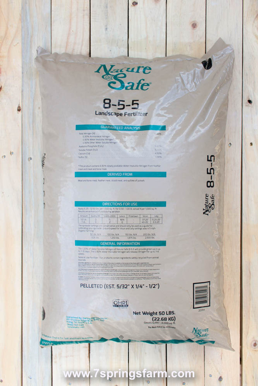 Nature Safe Organic Landscape Fertilizer Pelleted 8 5 5 50 Lb