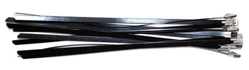 """Cable Zip Ties 8"""" Stainless Steel Black, Self Locking 100 Pack"""