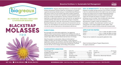 Biogreaux Blackstrap Molasses 55 Gallon Drum- Price $375.00