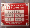 Waukee MV-5 0-100 CFH Natural Gas Flo-Meter w/ Extra Float Assembly
