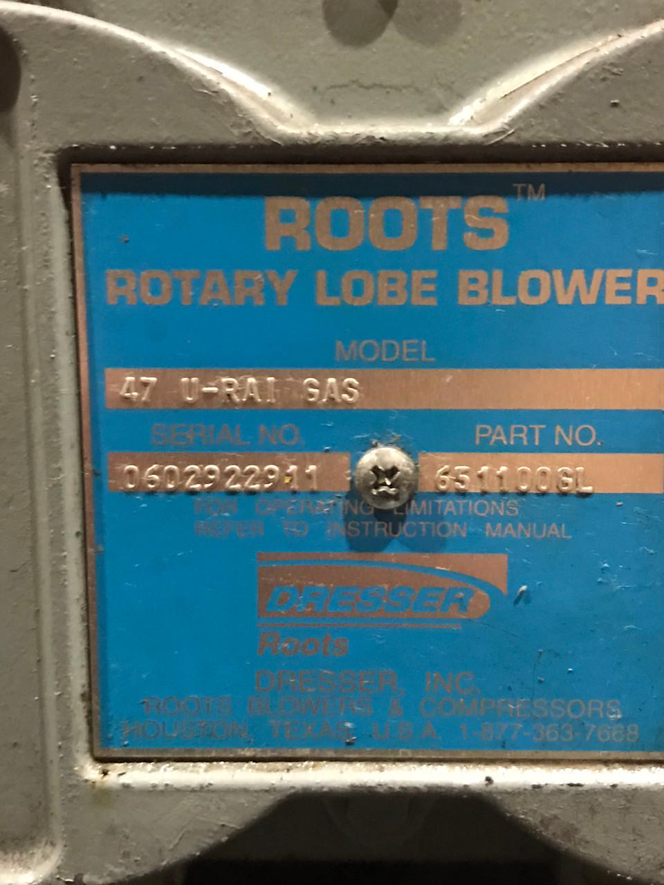 Roots Dresser 47U-RAI GAS Rotary Lobe Blower