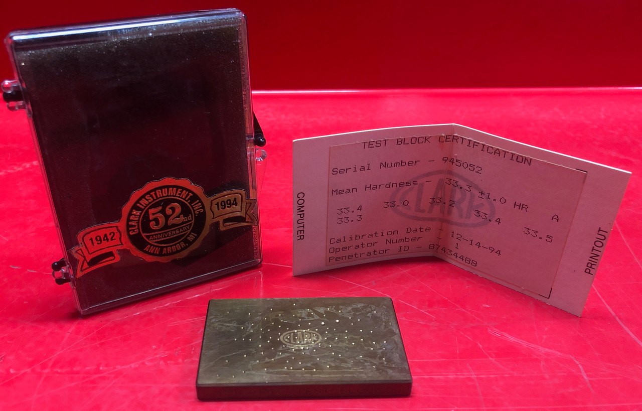 Rockwell Hardness Test Block X:33.3-HR:A/R:1.0 (Used)