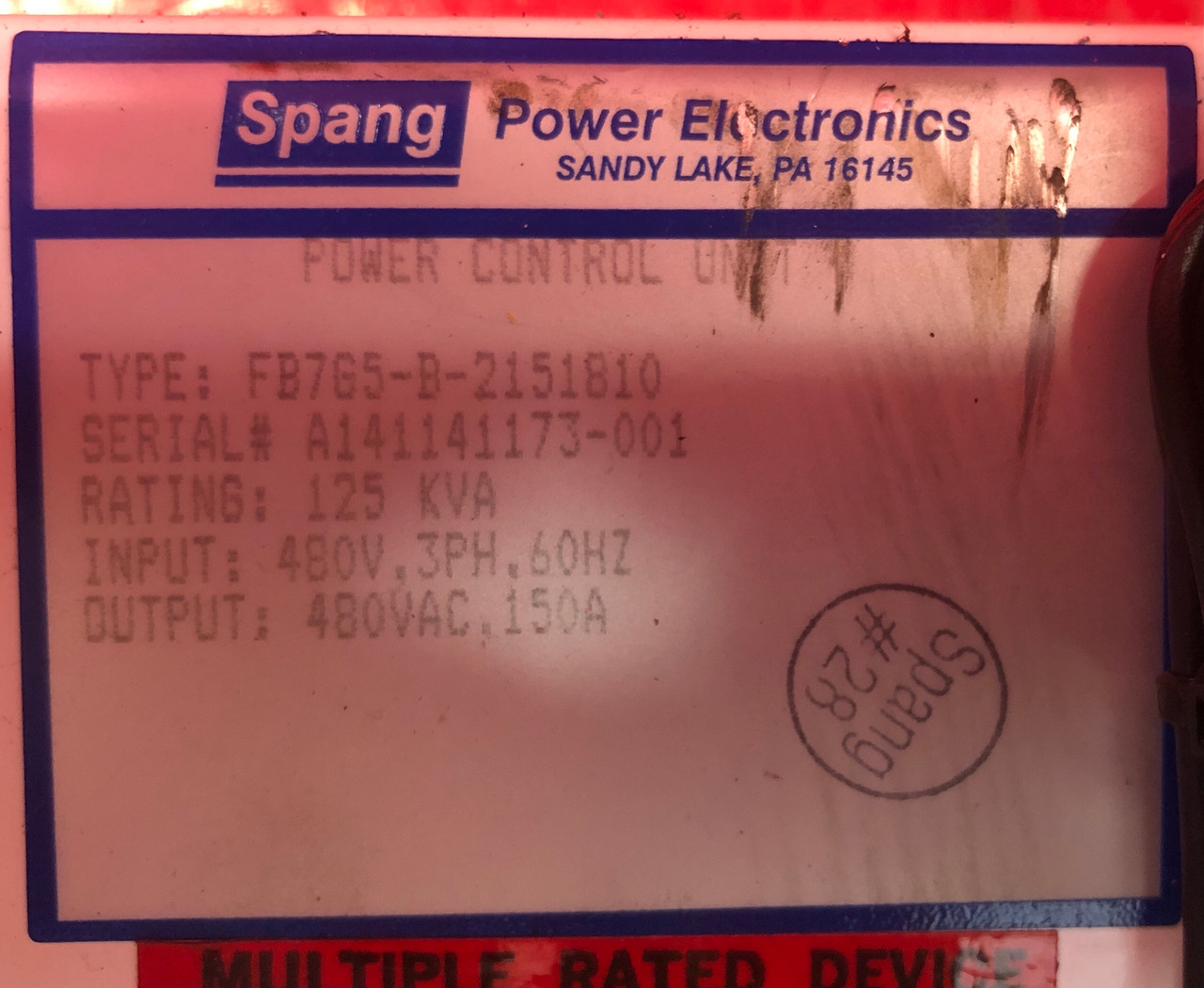 Spang FB7G5-B-2151810 Power Control Unit