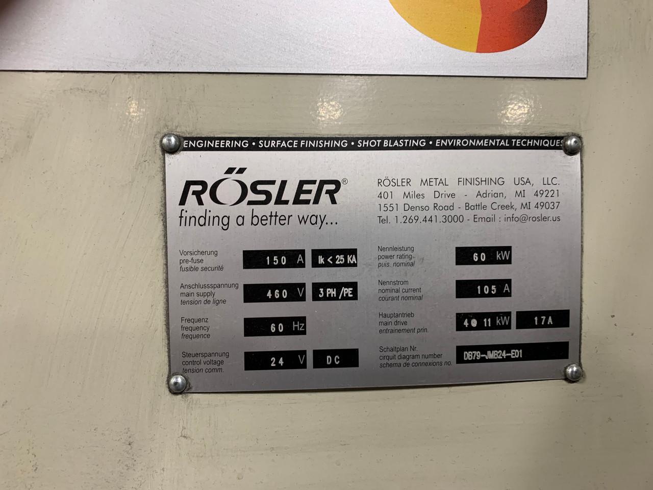 Rosler Wire Belt Blast Cleaning Machine - Model JMB24x10/4