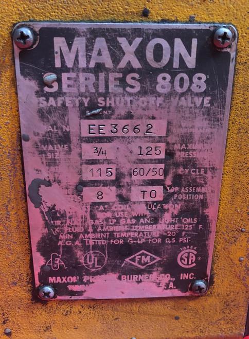 """Maxon 808 3/4"""" Safety Shut Off Valve EE3662 (Used)"""