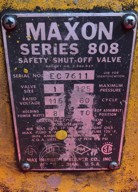 "Maxon 808 1"" Safety Shut Off Valve EC 7611 (Used)"
