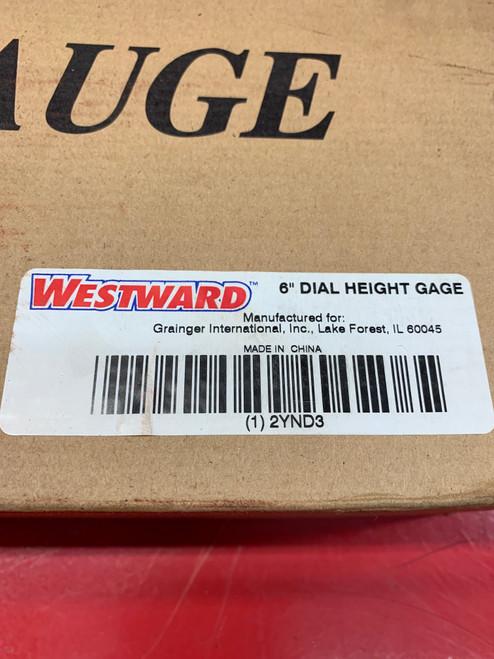 "WESTWARD Dial Height Gauge, 0 to 6"" Range, 0.001"" Resolution #2YND3"