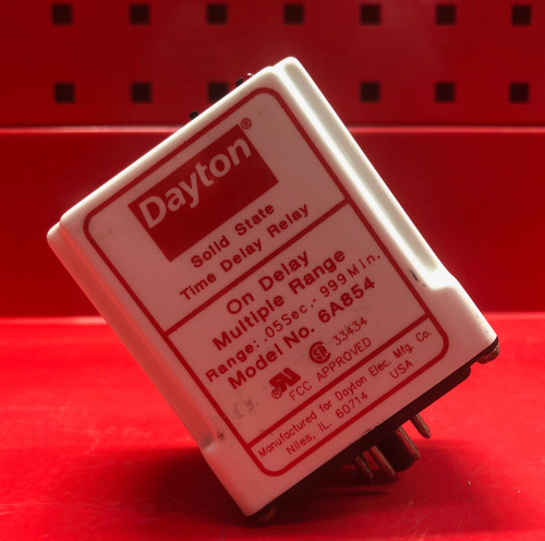 Dayton 6A854 Time Delay Relay -  120VAC/DC Coil, 10A Contact Amp Rating,  DPDT