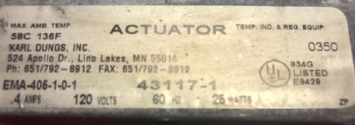 Dungs 269228  Spring return actuator  Ema-405-1 - Used
