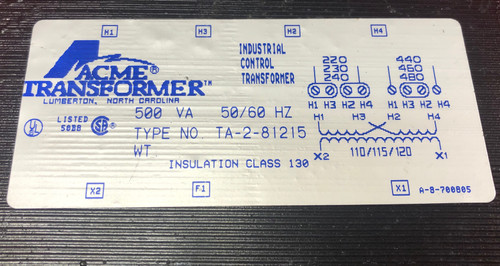 Acme TA-2-81215 Electrical Transformer
