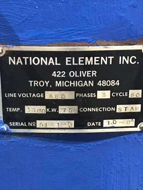 National Element Heat Element Plug, 75KW / 480Vac for Temper Furnace