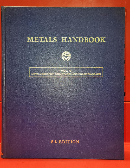 ASM Metals Handbook Volume 8 Metallography, Structures and Phase Diagrams. 8th Edition