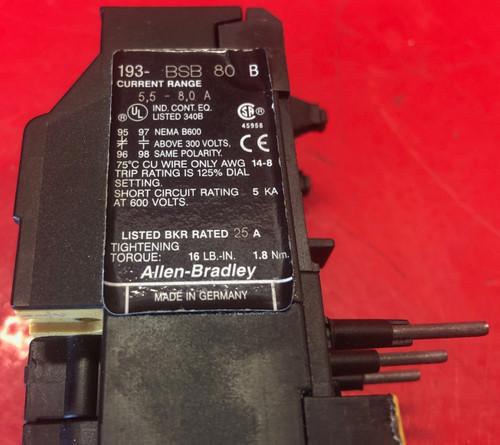 Allen Bradley 193-BSB-80 Overload Relay