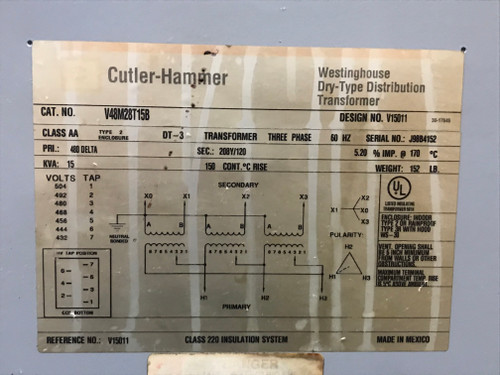 Eaton/Cutler Hammer V48M28T15 Encapsulated Distribution Transformer; 480 Volt Primary, 208/120 Volt Secondary, 3-Phase, 15 KVA