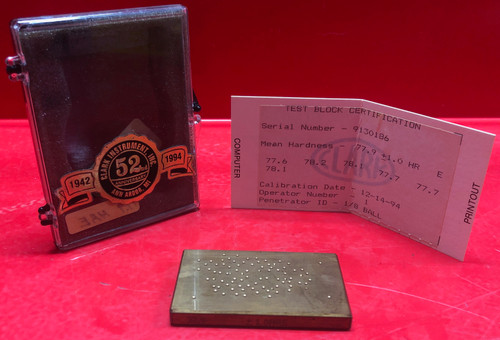 Rockwell Hardness Test Block X:77.9-HR:E/R:1.0 (Used)