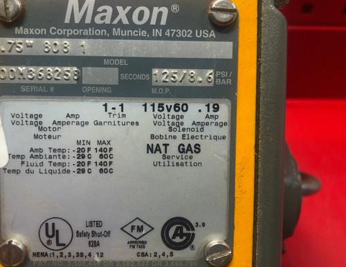 MAXON 3/4'' 808-1 Safety Shut-Off Valve - Manual Reset 115V/60HZ
