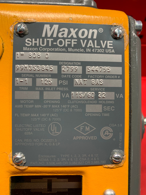 "Maxon 808-0 1"" Safety Shut-Off Valve - Manual Reset"