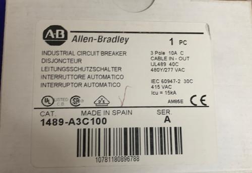 Allen Bradley  1489-A3C100 Circuit Breaker 3 Pole 10A