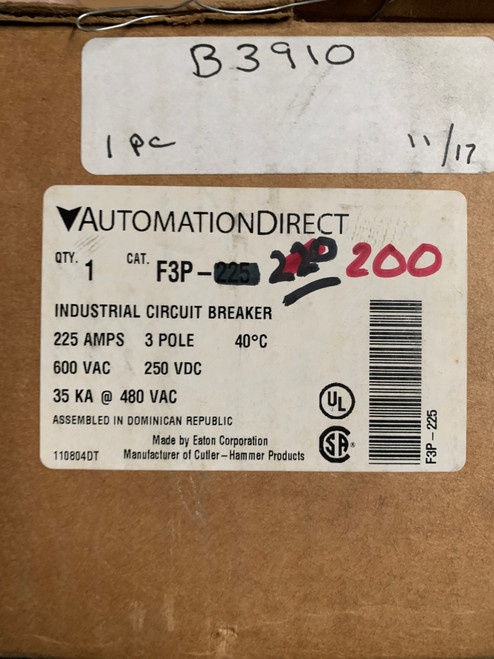 AutomationDirect F3P-200 Circuit Breaker - 200A, 600 VAC / 250 VDC, 3-pole