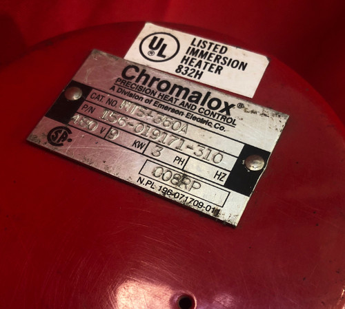 Chromalox MTS-360A, Immersion Heater, 6 kw, 480 volts/3 phase, Stainless Elements, Nema 1 Encl.