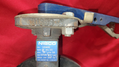 Nibco 250PSI,LD-3010 Ductile Iron, Lug Type Butterfly Valve