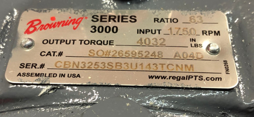Browning 3000 Series Gear Reducer CBN3253SB3U143TCNM