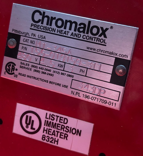 Chromalox MT-345A  156-019159-311 4.5 kw Screw Plug Immersion Heaters