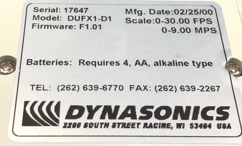 Dynasonics DUFX1-D1 UFX Ultrasonic Flowmeter